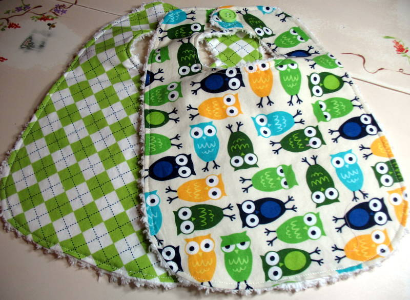 Baby Bibs Boys Set of 2 Owls Argyle Blue Green Chenille