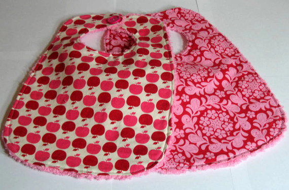 Baby BIbs Apple of My Eye Red Apples Floral Pink Chenille Set of Two