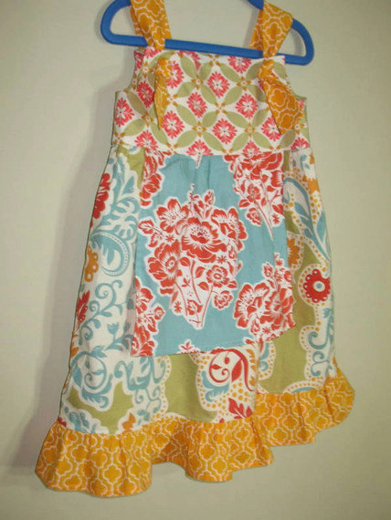 Girls Knot Dress Sundress Knot Dress Knot Patchwork Garden Floral Print Green Blue Yellow