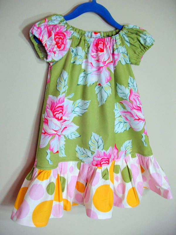 Girls Peasant Dress Nicey Jane Floral Polka Dots Green Pink Tangerine Size 3