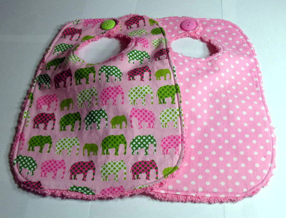 Baby Bibs Pink Polka dots and Pink Elephants Set of Two Bibs