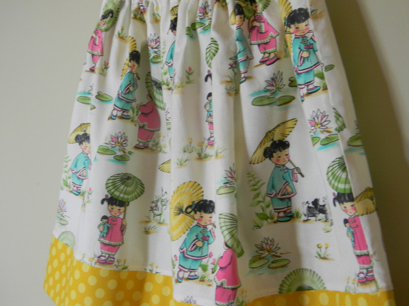 Girls Twirl Skirt Size 6 China Doll Polka Dots Michael Miller Cotton, Yellow Pink Blue Green